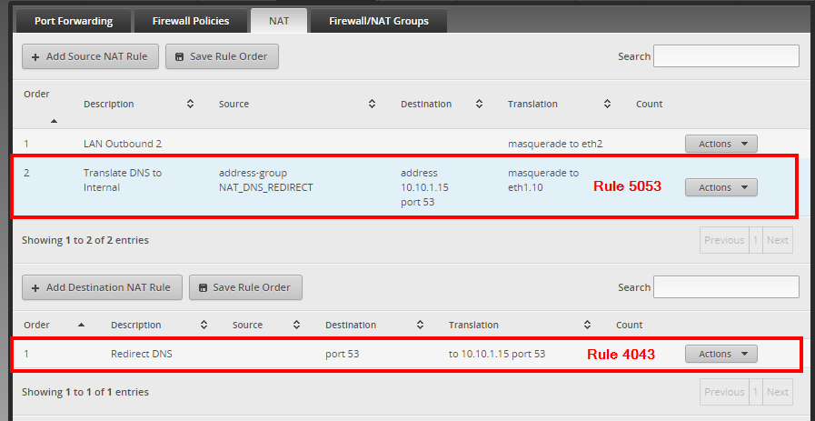 Web UI of ER-Lite   The previously described NAT rules, shown in the NAT overview
